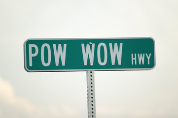 Wall Mural - Road sign for Pow Wow Highway representing American Indians in South Dakota