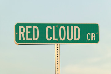 Wall Mural - Road sign for Red Cloud Circle named for famous Indian chief, Red Cloud, South Dakota