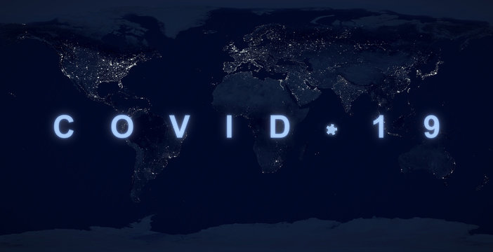 COVID-19 on planet map, World economy hit by coronavirus pandemic.