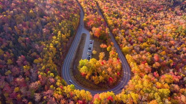 Amazing view of Kancamagus Highway in New Hampshire during Foliage season Autumn USA