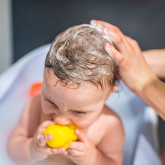 washing hair in a small child - bathing