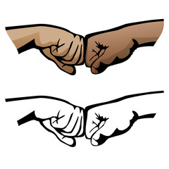 Fist Bump Healthy Diverse Hands Social Greeting Symbol Isolated Vector Illustration