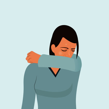 Girl sneezing in elbow coughing as allergy from air pollution tuck her elbow and arm to cover her mouth to reduce the number of virus germs to spread from cough when sick vector illustration