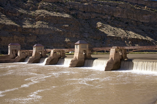 Dam releasing water on Colorado River along Interstate 55 east of Grand Junction, Colorado