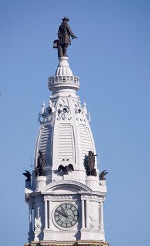 Statue of William Penn high atop City Hall in downtown Philadelphia, Pennsylvania