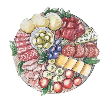 Charcuterie board watercolour illustration  on white background