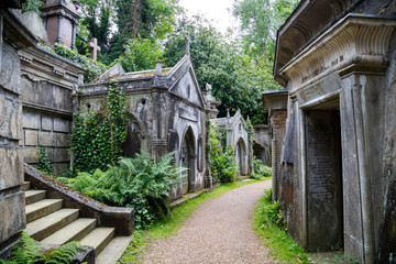 Gravestones at Highbury Cemetary, London