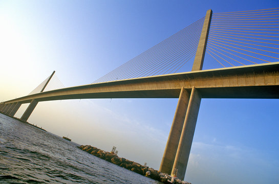 Tampa Sunshine Skyway Bridge, world's longest cable-stayed concrete bridge, Tampa Bay, Florida