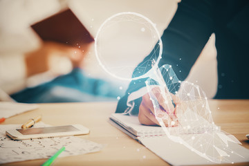 Double exposure of creative drawing over people taking notes background. Concept of startup