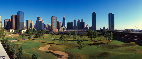 Wall Mural - Panoramic view of the city skyline from the Metro Golf Illinois Center, IL