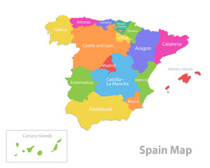 Spain map, administrative division, separate individual regions with names, color map isolated on white background vector