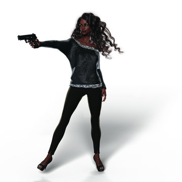 Black Woman with Handgun (Transparent with Shadows)