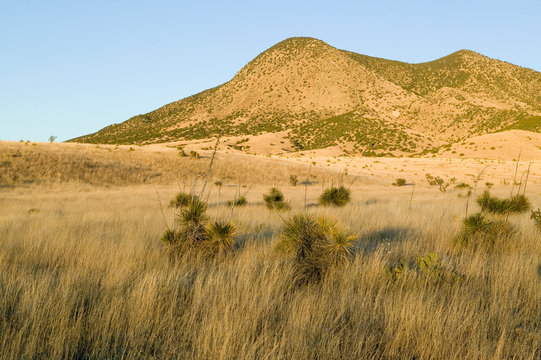 Hillsides at sunset in central New Mexico, Route 48 near Smokey Bear Historical Park