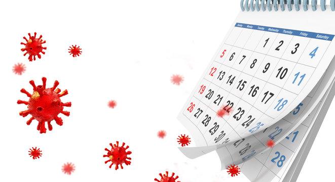 covid-19 coronavirus outbreak calenadar words text virus days for background - 3d rendering