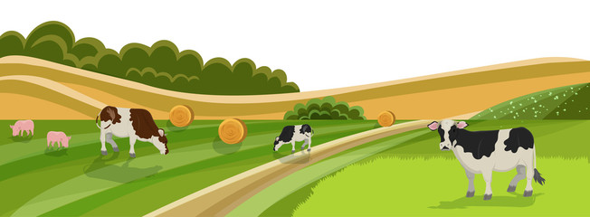 Cow and Pig Graze on Grassland Meadow Vector Illustration. Animal Farm, Cattle Livestock Swine Eating Green Grass on Field. Healthy Organic Dairy Milk Meat Products. Countryside Landscape.