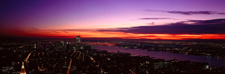 Fototapete - Panoramic view of Empire State Building, World Trade Center, Hudson River, Manhattan, NY and New Jersey