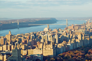 Wall Mural - Panoramic views of New York City and Hudson River at sunset looking toward Central Park from Rockefeller Square ÒTop of the RockÓ New York City, New York
