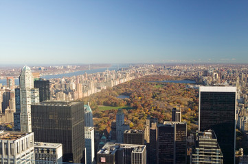 Fototapete - Panoramic view of New York City and Central Park from ÒTop of the RockÓ viewing area at Rockefeller Center, New York City, New York