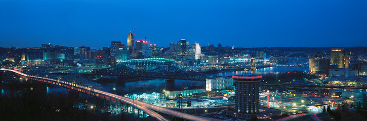 Wall Murals Panorama Photos Panoramic night shot of Cincinnati skyline and lights, Ohio and Ohio River as seen from Covington, KY