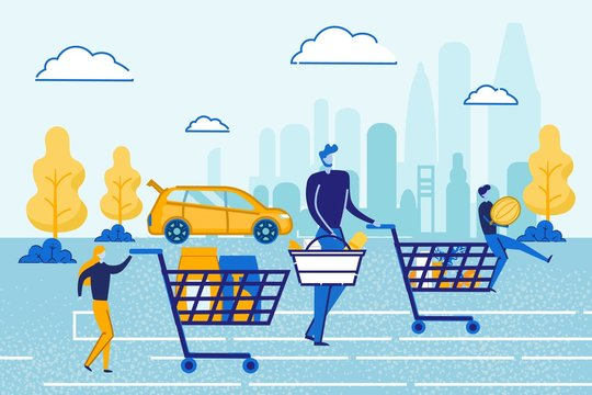 Children with Parent Leaving Shop Market. Happy Family Shopping. Father and Little Kids Pushing Trolleys and Carry Cart Walk at Parking Area after Visiting Supermarket Cartoon Flat Vector Illustration