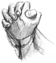 Praying Hands with Cross Illustration