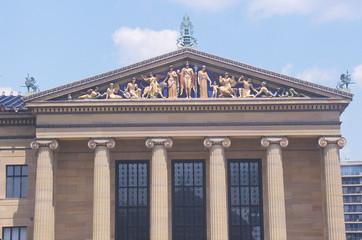 Fototapete - Philadelphia Museum of Art with plaza and fountain in Greek Revival style, Philadelphia, PA