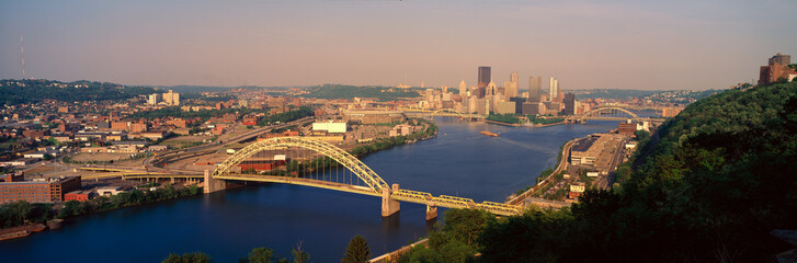 Fototapete - Panoramic morning view of Pittsburgh, PA with West End Bridge, and Allegheny, Monongahela and Ohio Rivers