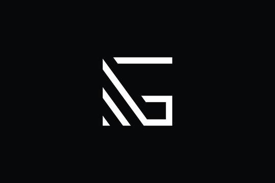 Minimal elegant monogram art logo. Outstanding professional trendy awesome artistic MG GM initial based Alphabet icon logo. Premium Business logo White color on black background