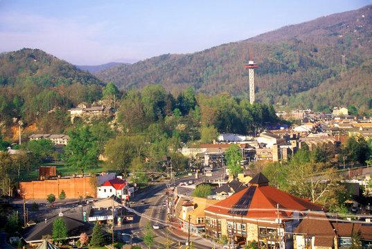 View of downtown Gatlinburg, TN in the Smokey Mountain National Park in springtime