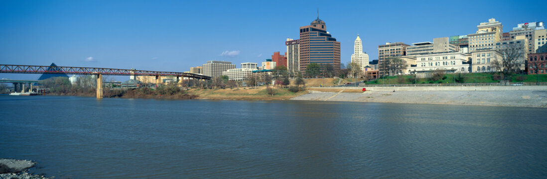 Panoramic view of Mississippi River with Bridge and Pyramid Sports Arena, Memphis, TN