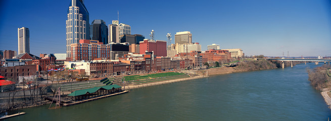 Fototapete - Panoramic morning view of Cumberland River and Nashville, TN