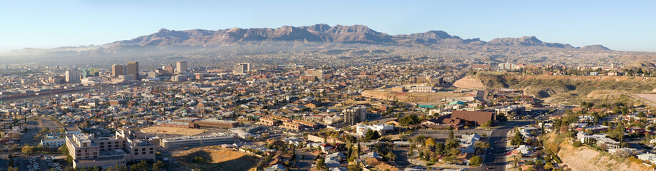 Panoramic view of skyline and downtown of El Paso Texas looking toward Juarez, Mexico
