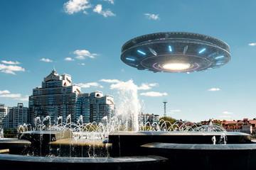 Garden Poster UFO UFO spaceship in the sky. Extraterrestrial life, aliens