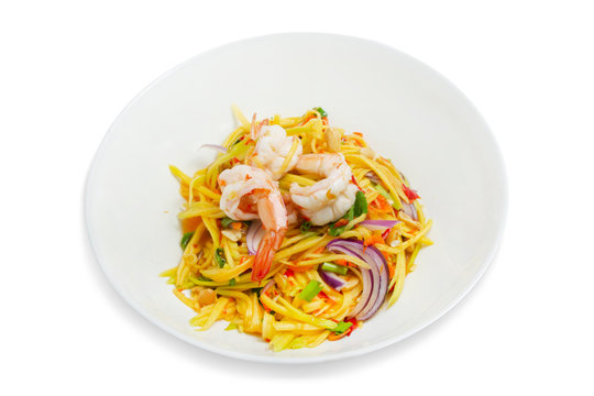 Mango shrimp salad on a white background,with clipping path