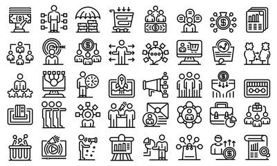 Affiliate marketing icons set. Outline set of affiliate marketing vector icons for web design isolated on white background