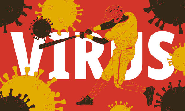 The illustration of  baseball player surrounded by a virus.