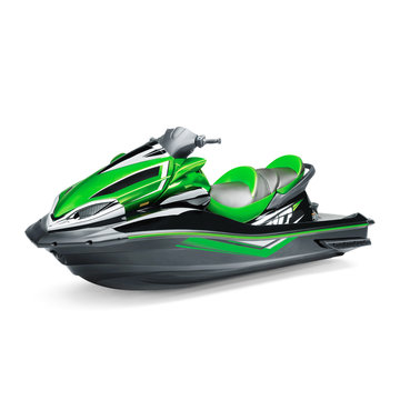 Green Water Scooter Isolated on White Background. Side View of Jet Ski. PWC Personal Water Craft Vehicle. Recreational Watercraft. 3D Rendering
