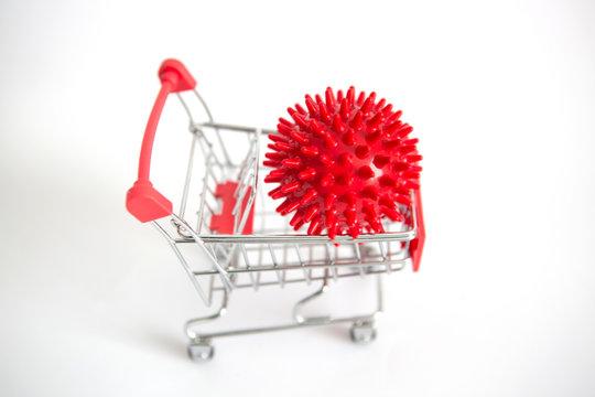 Impact of coronavirus COVID-19 on the global economy, Coronavirus in a shopping trolley. Financial crisis 2020.