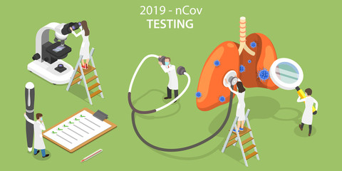 3D Vector Isometric Concept of 2019-nCov Virus Laboratory Testing.