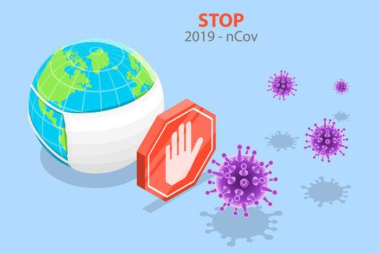 3D Vector Isometric Concept of Coronavirus Outbreak.