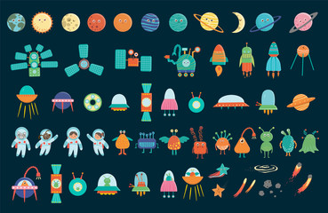 Big vector set of space elements for children. Collection of flat style spaceship, satellite, spacecraft, planets, astronauts, star, ufo, aliens, comet isolated on white background..