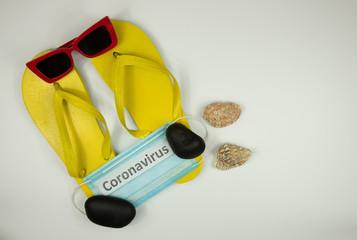 tourist problems, coronavirus epidemic, beach shoes, medical mask and inscription coronavirus Wall mural