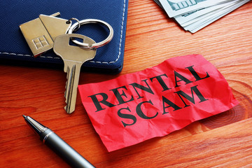 Rental scam memo about fraud and home key.