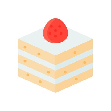 Strawberry shortcake vector illustration, flat style icon
