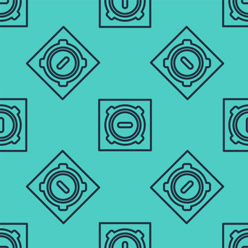 Black line Manhole sewer cover icon isolated seamless pattern on green background. Vector Illustration