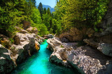 Emerald color Soca river with beautiful narrow canyon, Bovec, Slovenia