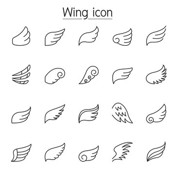 Wing icons set in thin line style