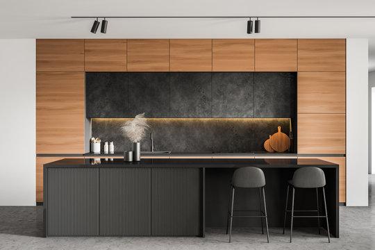 Minimalistic white kitchen interior with bar