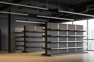 Fototapeta Empty shelves in gray supermarket corner obraz