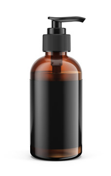 Realistic bottle with batcher pump, with transparent liquid gel, soap, body wash, lotion, shampoo, on a white background. Template mockup - 3d rendering.